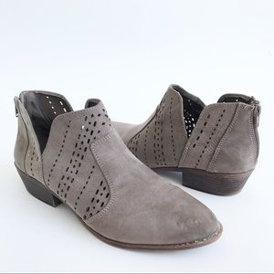 R2 Macys Taupe Gray Perforated Ankle Booties